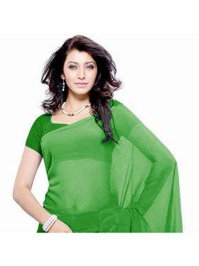 Khushali Fashion Georgette Plain Saree(Light Green)_JAZZ557