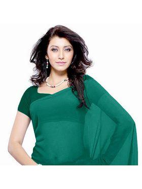 Khushali Fashion Georgette Plain Saree(Rama Green)_JAZZ569
