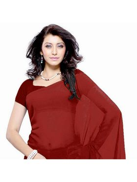 Khushali Fashion Georgette Plain Saree(Maroon)_JAZZ575