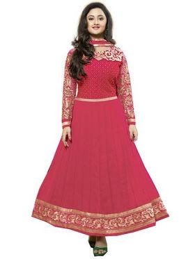 Javuli Georgette Embroidered  Dress Material - Pink - kavya-Pink