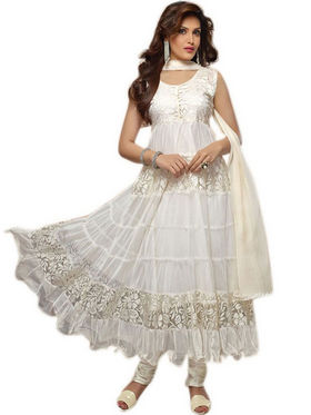 Javuli Georgette Embroidered  Dress Material - White - net-white