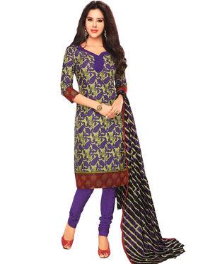 Javuli 100% pure Cotton Printed  Dress material - Purple - shree-new212