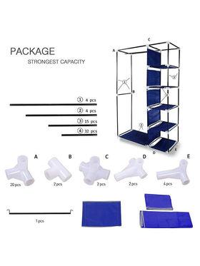 Kawachi Elegant Double-Sided Foldable Canvas Wardrobe_K1-Blue