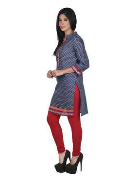Arisha Cotton Printed Kurti KRT6082-Blu
