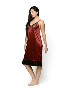 Klamotten Satin Solid Nightwear - Maroon - YY76