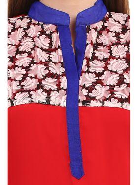 Kyla F Georgette Printed Kurti - Red - KYL5011