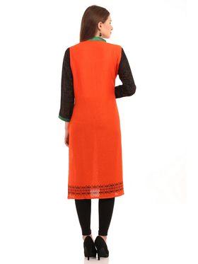 Kyla F Ryon Printed Kurti - Orange - KYL5015