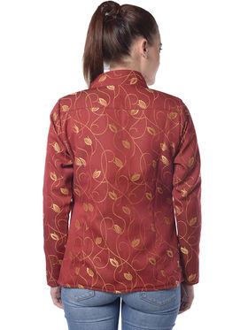 Lavennder Maroon Woven Full Sleeve Women Jacket - LJ-24036