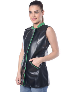 Lavennder Black Solid Sleeveless  Women Jacket - LJ-24053