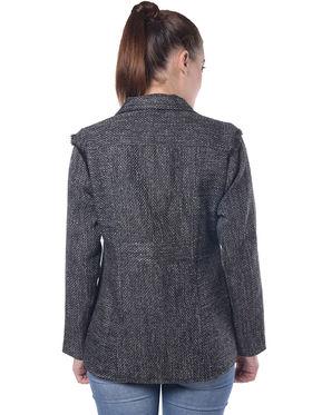 Lavennder Black Jute Full Sleeve  Women Jacket - LJ-24058