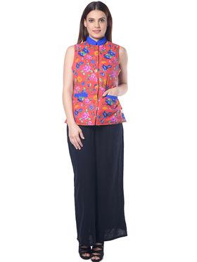 Lavennder Red Floral Print Sleeveless  Women Nehru Jacket - LJ-24068
