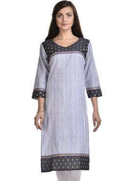 Lavennder Khadi Striped Kurti -LK-623342