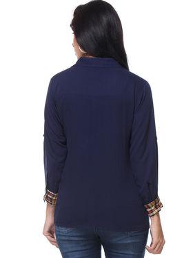 Combo of 5 Lavennder Crepe & Georgette Solid Ladies Shirts -la03