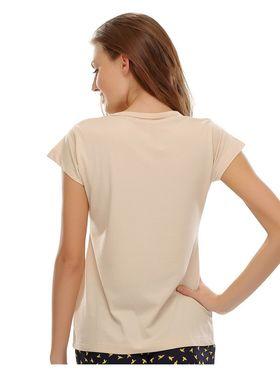 Clovia Cotton Lycra Printed T-Shirt -LT0010P24