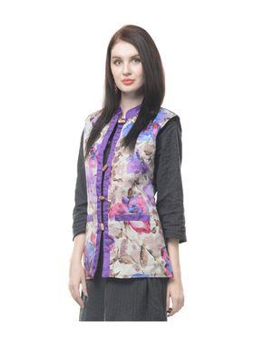 Lavennder Cotton Quilt Printed Jacket - Purple and Black - LW-4161