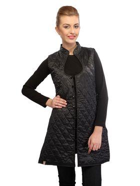 Lavennder Cotton Quilt Reversible Jacket - Black