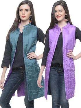 Lavennder Silk Quilt Reversible Jacket - Green and Purple