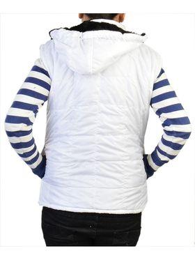 Lavennder Poly Synthetic Leather Plain Jacket - White - 41057