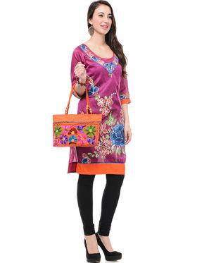 Lavennder Poly Silk and Dupion Silk Printed Kurti with Hand Bag - LK-62006