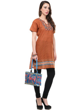 Lavennder Cotton and Dupion Silk Embroidered Kurti with Hand Bag - LK-62019