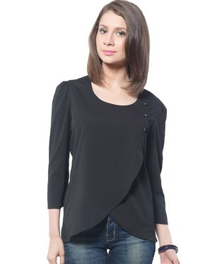 Meira Poly Crepe Solid-Top - Black - MEWT-1172-A