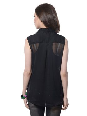 Meira Poly Chiffon Solid-Top - Black - MEWT-1175-A