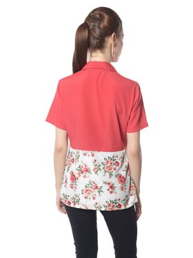 Meira Crepe Printed Top - Red - MEWT-1179