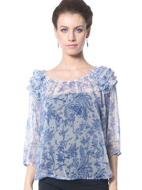 Meira Georgette Printed Top - Blue - MEWT-1198-A
