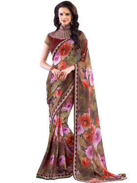 Nanda Silk Mills Designer Printed Georgette Sarees With Embroidered Blouse Piece  _MK-2012