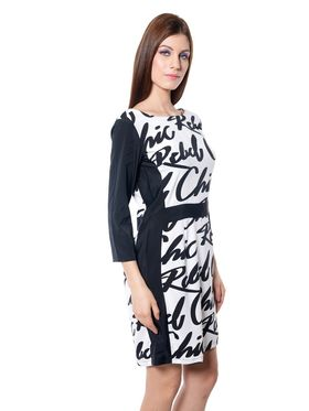 Meira Printed Crepe Women's Dress - Black _ MEWT-1130-B-Black