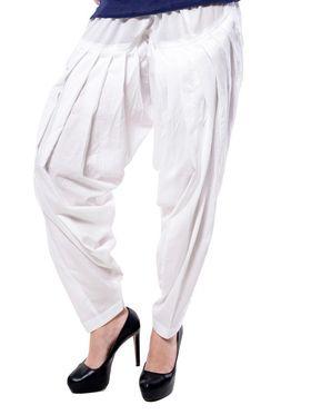 Meira Cotton Patiala Solid Salwar - White _MEPAT-1159