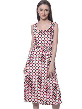 Meira Poly Crepe Printed Dress - Multicolor - MEWT-1064-L-Multi