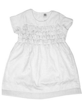 Mind The Gap  Cotton Solid Girls Frock - White