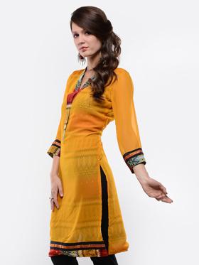 Lavennder Georgette Reversible kurti - Mustard & Red