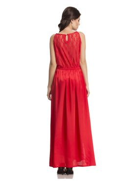 Clovia Satin  Lace Solid Nightgown -NS0609P04
