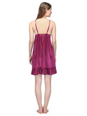 Oleva Satin Plain Nightwear - Wine - OSNW-28-W