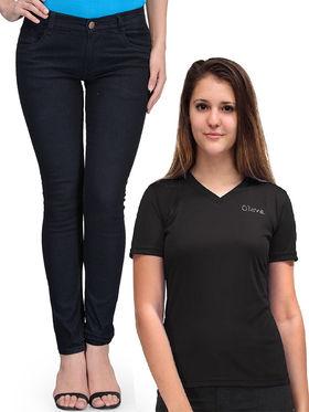 Oleva Combo Of 2 Black Denim And T-Shirt ONC-06