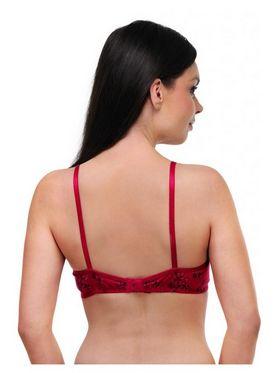 Oleva Cotton Printed Bra - Red