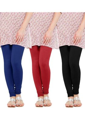 Pack of 3 Oh Fish Solid Cotton Stretchable Leggings -zwe67