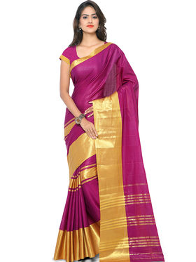Nanda Silk Mills Handloom Wine & Gold Plain Cotton Silk Saree -nad15