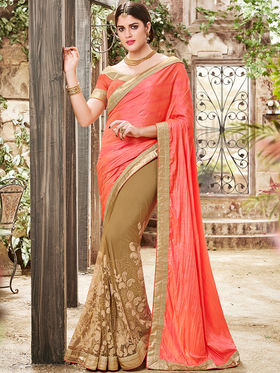 Indian Women Embroidered Paper Silk Multicolor Saree -Ra21019