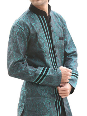 Runako Regular Fit Elegant Silk Brocade Sherwani For Men - Green_RK1048