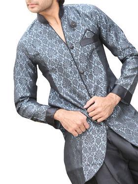 Runako Regular Fit Elegant Silk Brocade Sherwani For Men - Grey