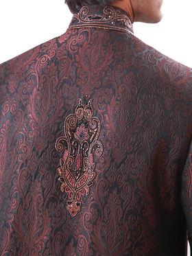 Runako Regular Fit Elegant Silk Brocade Sherwani For Men - Dark Brown