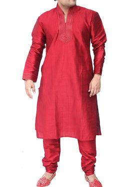 Runako Regular Fit Silk Brocade Kurta Pyjama For Men - Red_RK4011
