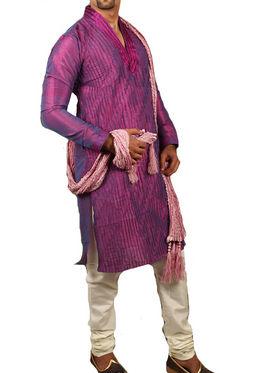 Runako Regular Fit Silk Brocade Kurta Pyjama For Men - Purple