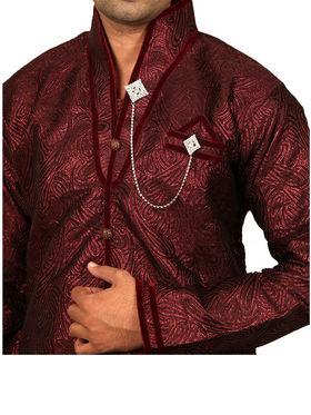 Runako Regular Fit Silk Brocade Kurta Pyjama For Men - Maroon_RK4031