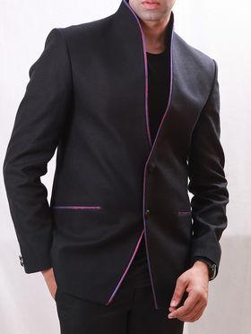 Runako Solid Regular Full sleeves Party Wear Blazer For Men - Black_RK5056