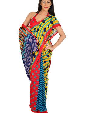 Set of 7 Rich Look Designer Collection Georgette Sarees (7G123)