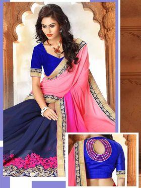 Viva N Diva Georgette Floral Embroidery Saree -Riwaaz-Again-9003
